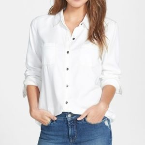 Halogen White Chambray Long Sleeve Top Button Down